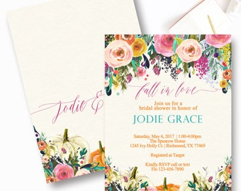 Fall Pumpkin Bridal Shower Invitation, Rustic, Floral Watercolor Bridal Shower Invitation