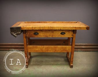 Vintage Industrial Woodworkers Maple Workbench Table Desk