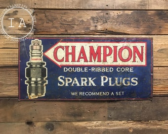 Vintage Champion Spark Plugs Automobile Metal Advertising Sign