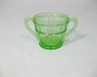Jeannette Glass Open Sugar Bowl, Green Glass Sugar Bowl, Doric Green