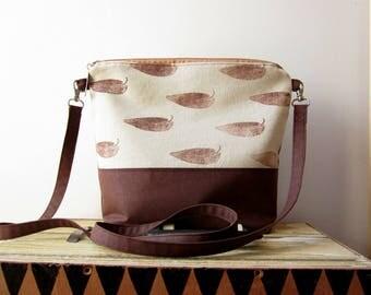 Soft crossbody bag, hand stamped bag, hand printed canvas bag, leaves stamped bag, vegan bag, brown crossbody bag
