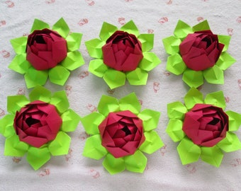 Paper Lotus Flowers, Set of 6 or 12 - Red Ccolor, only for USD18.00+