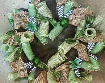 Green/Navy Succulent Wreath