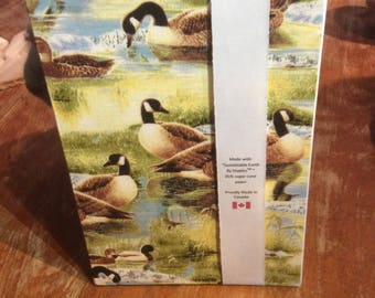 Hand Bound Journal - Canada Geese print cover - plain paper