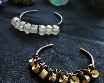 Wire wrapped cuff bracelet - choose one - recycled ghost glass or fish vertebrae