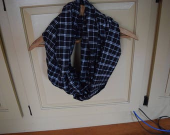 Infinity Scarf - Black and White Flannel Scarf