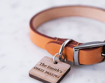 Personalised Walnut Pet Tag - Engraved Pet Tag - Pet ID Tag - Pet Accessories - Wooden ID Tag - Dog Tag - Cat Tag - Pet Lover Gift -Name Ta