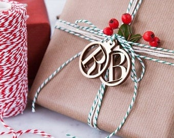 Initial Wooden Christmas Bauble Gift Tags