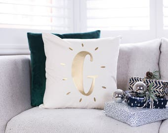 Personalised Glowing Initial Nursery Cushion - Initial Cushion - Letter Cushion - Christmas Cushion - Personalised Cushion - Square Cushion