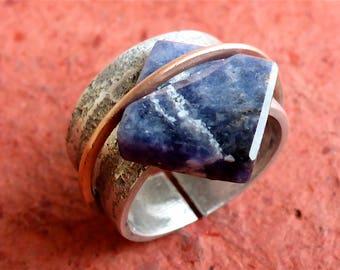 unique designer ring - geometric sodalite ring - blue soladite ring - minimalist ring - modern ring - unique shape ring - square