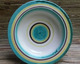Striped Pottery Bowl Mid Century Hand Made F.H. SS. Germany