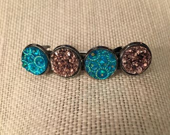 12mm Rose Gold and Teal Spirals Faux Druzy Hair Beret