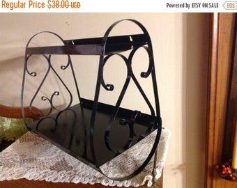 4th of July sale Vintage Black Scrolled Metal Shelf Two Tiered Shelf Tiered Black Shelf