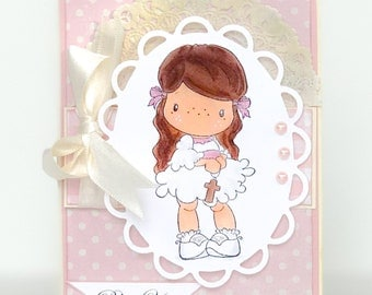 Baptism Card, Girls Religious Card, Confimation Card, First Communion, Girls Easter, Cross, Christian Card, Easter Card Vintage Style Easter