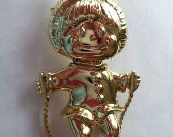 Vintage Unsigned  Goldtone Little Girl Skipping Brooch/Pin