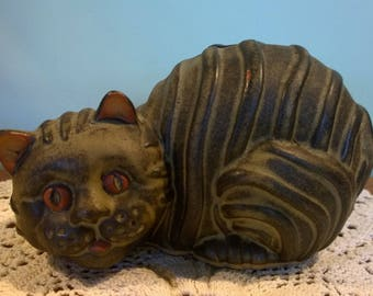 Tremar Pottery Cat money bank dark stripes terracotta Cornwall