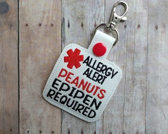 Peanut Allergy Alert Key Chain, Embroidered on White Vinyl with Red Snap, Epipen Alert, Clip to Bag, Backpack, Lunch Box, Choice of Hardware