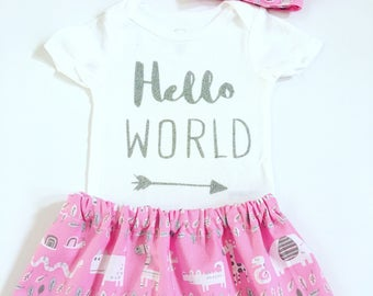 Hello World Newborn Girl Outfit, Hello World Outfit, Newborn Girl Coming Home Outfit, Going Home Outfit Girl, Newborn Girl Take Home Outfit