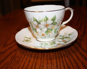 Duchess Bone China Tea Cup & Saucer with Dogwood Flowers- Made in England