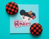 Red Checkerboard Button E...