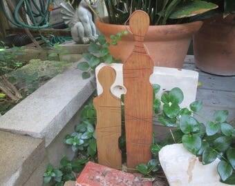 Yard Art-Folk Art-Garden Art-Plant Marker-Outdoor Art-Plant Art-Wood Sculpture-Recycled Wood Art-Wood Yard Art-Handmade Garden Art