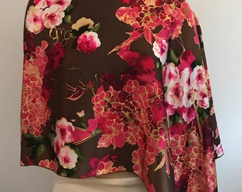 Silk Charmeuse Floral Poncho