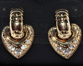 Joan Rivers Reversible Heart Earrings - Pave Crystal Pierced - S2271