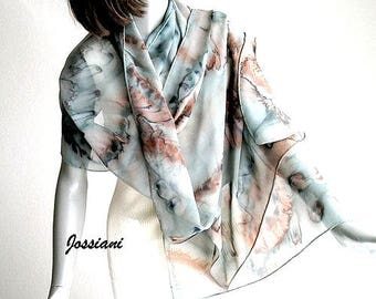 Hand Painted Shawl,  Gray Charcoal Wrap, Earth Tones Shawl, Grey Brown Shawl, Sage Gray Wrap, Olive Rust Brown, Artisan Handmade, Jossiani