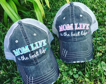 Hats { Mom life is the best life } Gray with pink or teal letters
