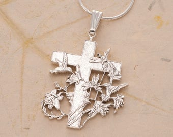 """Sterling Silver Religious Cross Pendant and Necklace, Hand Cut Silver Cross, 1 1/4"""" in Diameter, ( # 529S )"""