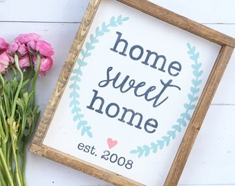 Home Sweet Home | framed wood sign | Farmhouse Sign | Wood Sign | Housewarming gift