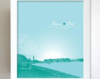 Wedding Anniversary Gift / Mamaroneck New York Skyline 8x10 Poster Print Art / Any City or Location