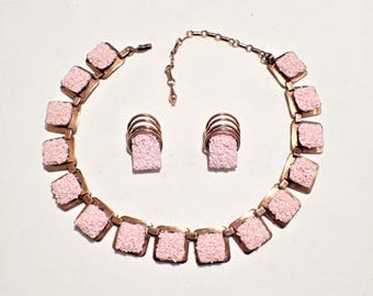 Matisse Pink Seafoam on Copper California Dreamin Necklace and Clip Earrings Set
