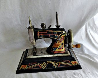 Antique Toy Sewing Machine Casige Germany,, Casige Toy Sewing Machine 1015 Deco British Zone Germany 1940's