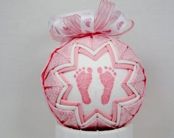 It's a Girl Pink Quilted Ornament