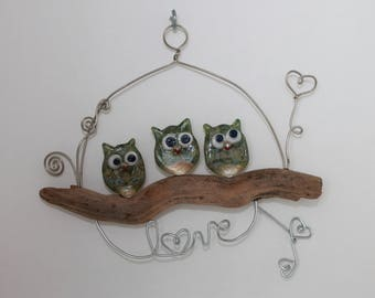 Glass Owl Wall Art, 3 Green Coral Owls (Love)