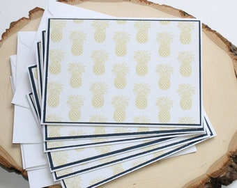 Pineapple Card Set - Thank You Card Set - Greeting Card Set - Hello Cards - Encouragement Cards - Friendship Cards - Blank Card Set of 6