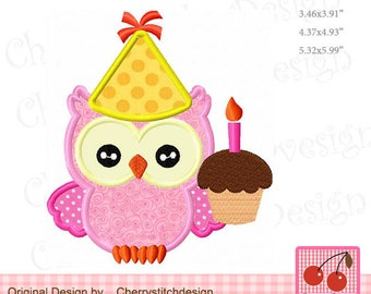 Birthday Owl Machine Embroidery Applique Design - 4x4 5x5 6x6""