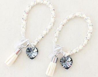 Heart & Tassel in Buttercream - silver hardware