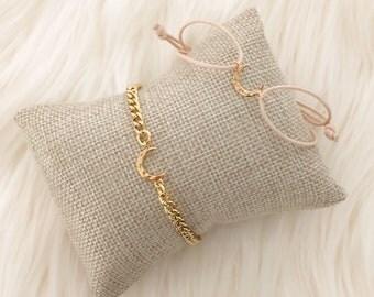 Dainty Moon Bracelet - Chain or Cords
