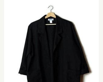 ON SALE Vintage Oversized Black Slouchy Blazer /Light Jacket  from 1980's/Minimalist*