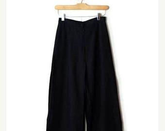 ON SALE Vintage Plain Black High waist wide leg Pants from 1980's/Minimalist *