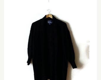 Clearance SALE 40% off Vintage Black Shawl Collar  Acrylic Long Cardigan Sweater from 1980's/ Minimalist/Minimal*