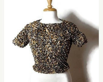 ON SALE Vintage Stretchy crinkly Popcorn Blouse from 90's/Leopard*