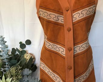 Super GROOVY 70s Suede Knit Vest Button Up Large