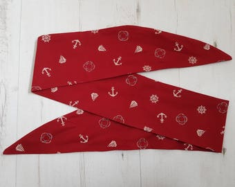 1950s Burgundy & White Nautical Head Scarf With Wire or Not - Rockabilly Sailor Pirate Captain Pin Up Girl Boat Ship Anchor Wheel Buoy Sea
