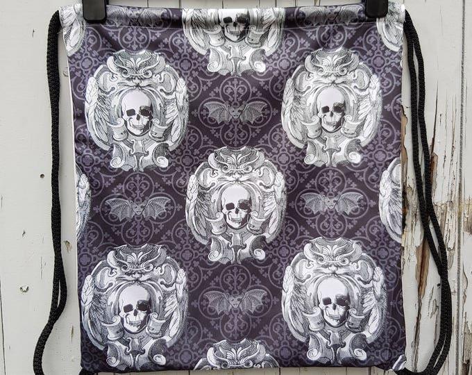 Gothic Skull & Bat Backpack - Bag Gym Handbag Horror Lace Goth