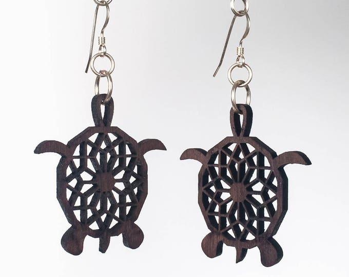 Turtle Earrings - Wood - Laser Cut