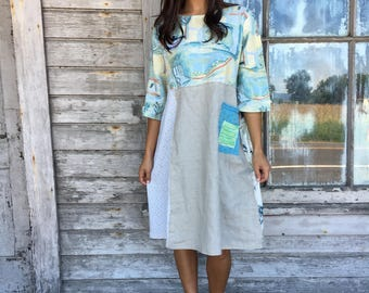 Bonnie dress-medium large-artsy-Eco Clothing-Upcycled Clothing-Anthropologie and Free People inspired-by Love HIGHER Handmade Clothing