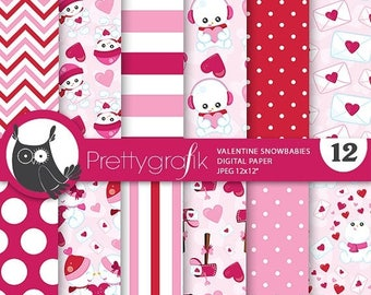80% OFF SALE Valentine Snow babies digital paper, commercial use, valentine scrapbook papers, background papers, valentine papers - PS779